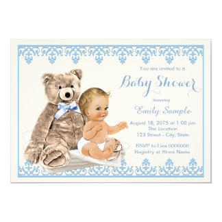 Blue Teddy Bear Baby Shower 13 Cm X 18 Cm Invitation Card