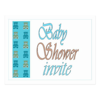 Blue teddy bear baby shower postcard