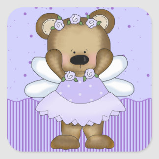 Blue Teddy Bear Fairy Princess Square Sticker