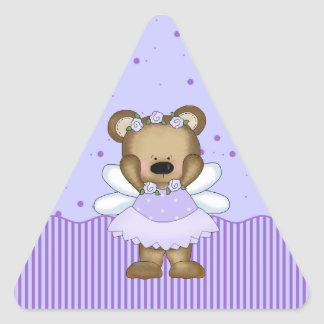 Blue Teddy Bear Fairy Princess Triangle Stickers