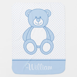 Blue Teddy Bear Personalised Baby Blanket