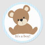 Blue Teddy Bear Round Stickers