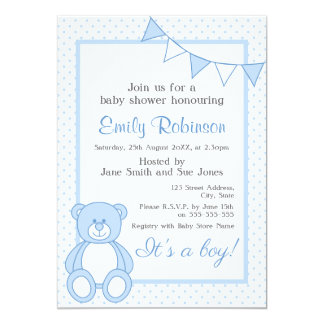 Blue Teddy Bear Shower Invitation - Boy