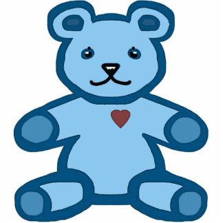 Blue teddy bear standing photo sculpture