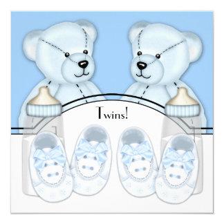 Blue Teddy Bear Twin Boys Baby Shower 13 Cm X 13 Cm Square Invitation Card