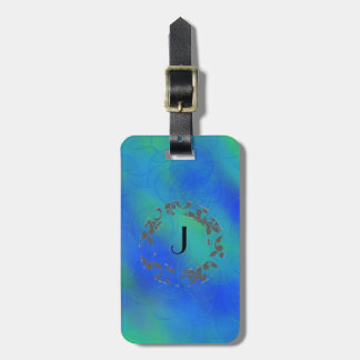 Blue template monogram luggage tag