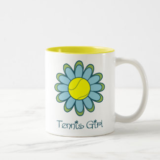 Blue Tennis Girl Two-Tone Coffee Mug