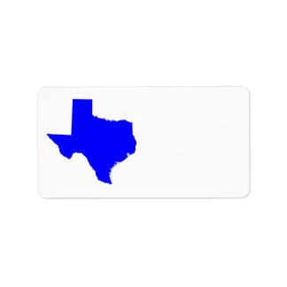 Blue Texas Shape Label