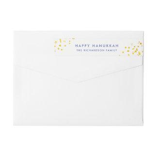 Blue Text and Faux Gold Sparkles | Happy Hanukkah Wrap Around Label