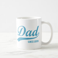 Blue Text Dad Since [year] Classic Mug