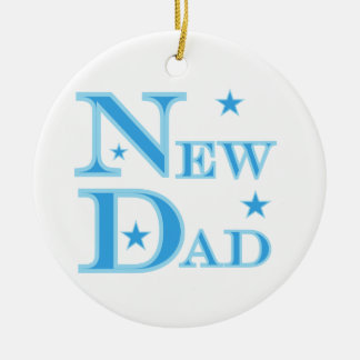 Blue Text New Dad Gifts Round Ceramic Decoration