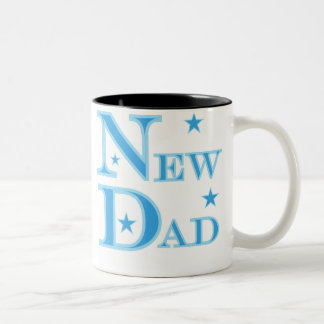 Blue Text New Dad Mugs