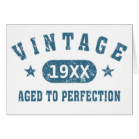 Blue Text Vintage Aged to Perfection Greeting Card