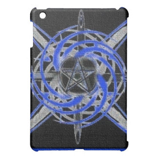 Blue Textured Abstract Pentagram iPad Case