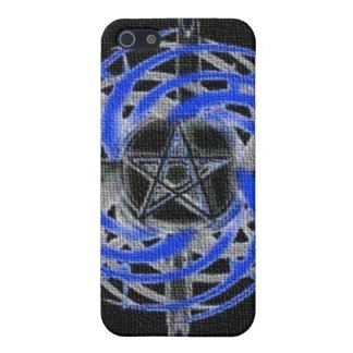 Blue Textured Abstract Pentagram iPhone 4 Case