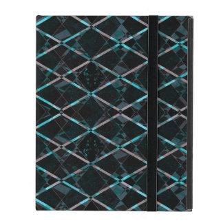 Blue textured diamond pattern iPad folio case