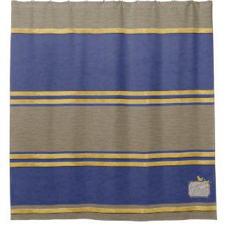 Blue Textured Gold Plain Shower Curtain