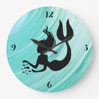 Blue Textured Mermaid Round Clock