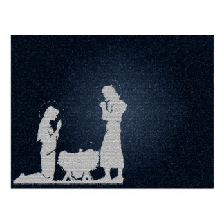 Blue Textured Nativity Postcard