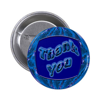 Blue Thank You 6 Cm Round Badge