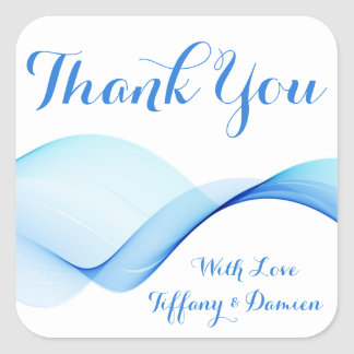 Blue Thank You Abstract Ocean Wave Personalized Square Sticker