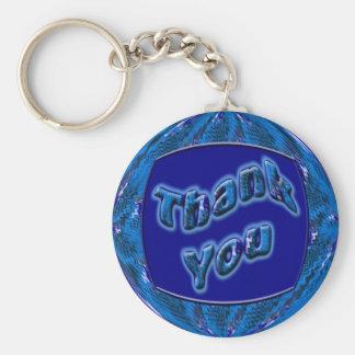 Blue Thank You Basic Round Button Key Ring