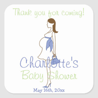 Blue Thank You For Coming Silhouette Baby Shower Square Sticker