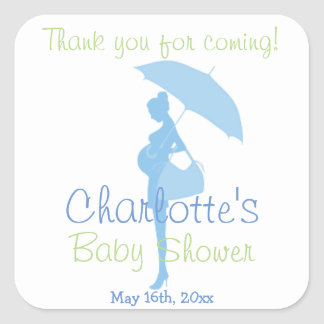 Blue Thank You For Coming Silhouette Baby Shower Square Stickers
