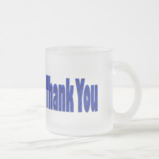 blue Thank you Frosted Glass Mug