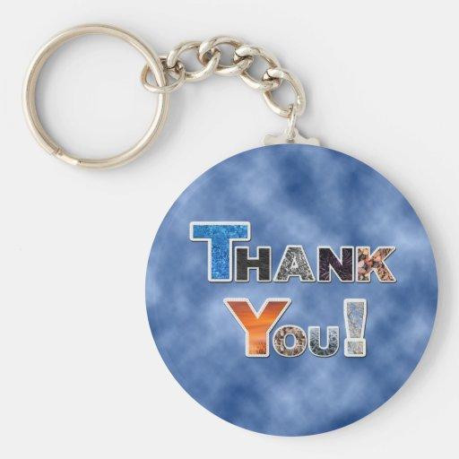 Blue Thank You Keychain