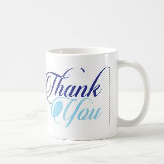 Blue thank you script typography basic white mug