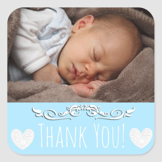 Blue Thank You Sticker with your baby's photo