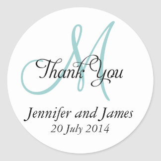 Blue Thank You Wedding Favour Stickers Monogram