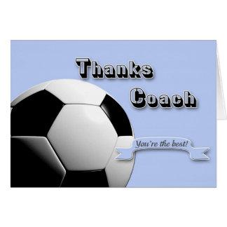 Blue Thanks Soccer Coach Greeting Card