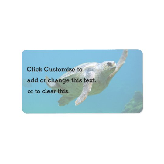 Blue Themed, A Sea Turtle Swims In Clear Blue Wate Address Label
