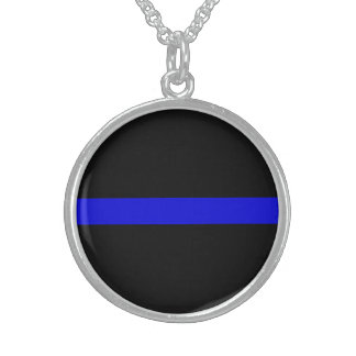 BLUE THIN LINE POLICE STERLING SILVER NECKLACE