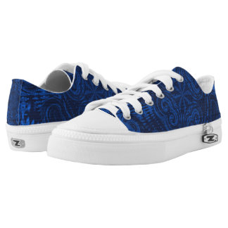 Blue Three Abstract Low Tops