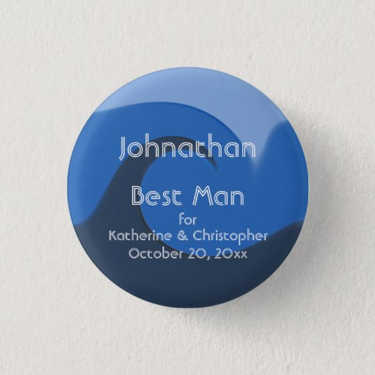 """""""Blue Tide"""" - Best Man w/ Names and Date 3 Cm Round Badge"""