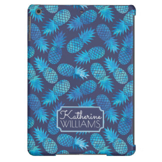 Blue Tie Dye Pineapples   Add Your Name Case For iPad Air