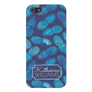 Blue Tie Dye Pineapples | Add Your Name iPhone 5 Cases