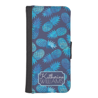 Blue Tie Dye Pineapples | Add Your Name iPhone SE/5/5s Wallet Case