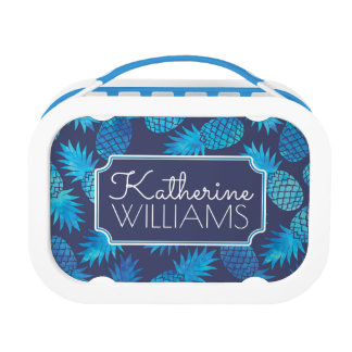 Blue Tie Dye Pineapples | Add Your Name Lunch Box