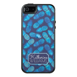 Blue Tie Dye Pineapples | Add Your Name OtterBox iPhone 5/5s/SE Case