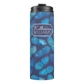 Blue Tie Dye Pineapples | Add Your Name Thermal Tumbler