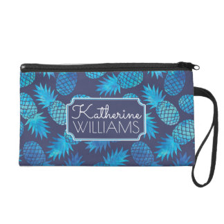 Blue Tie Dye Pineapples | Add Your Name Wristlet