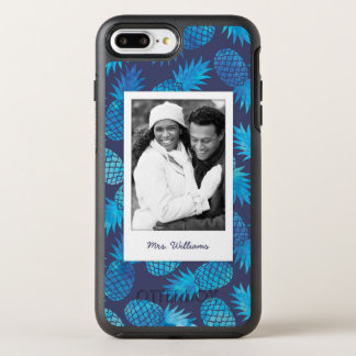 Blue Tie Dye Pineapples | Add Your Photo & Name OtterBox Symmetry iPhone 7 Plus Case