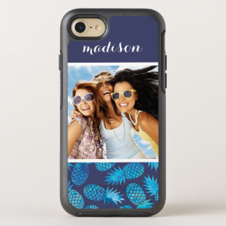 Blue Tie Dye Pineapples | Add Your Photo & Name OtterBox Symmetry iPhone 8/7 Case