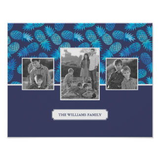 Blue Tie Dye Pineapples | Family Photos with Text Poster