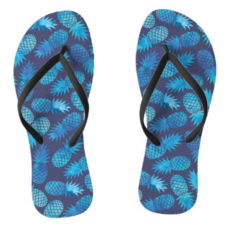 Blue Tie Dye Pineapples Flip Flops