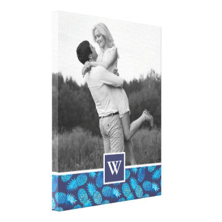 Blue Tie Dye Pineapples | Photo with Monogram Canvas Print